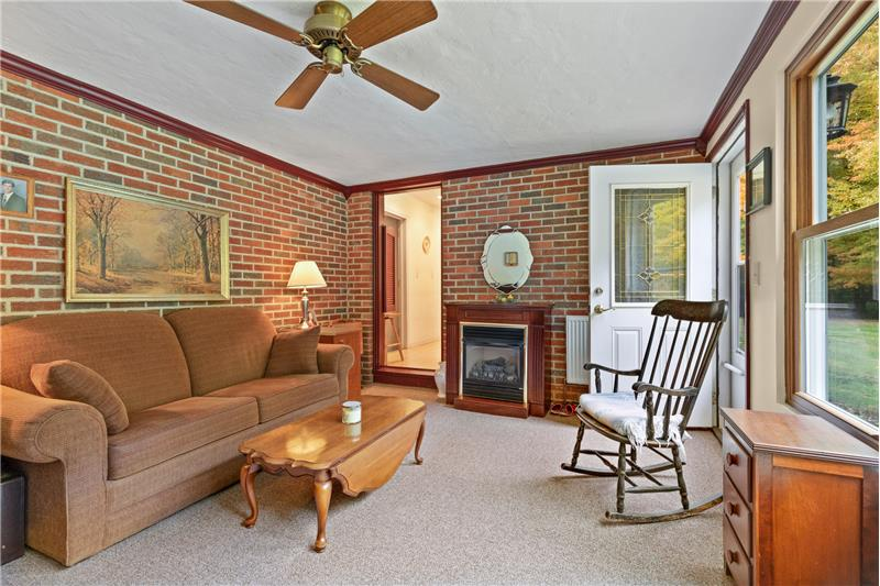 Gas fireplace - former porch renovated to Office