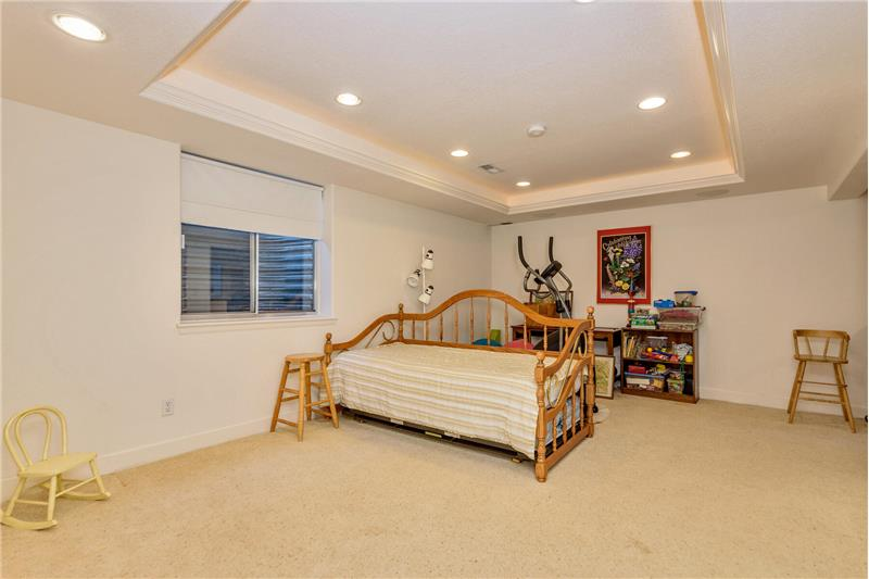 Family room in basement has indirect lighting and surround sound speakers for home theater use