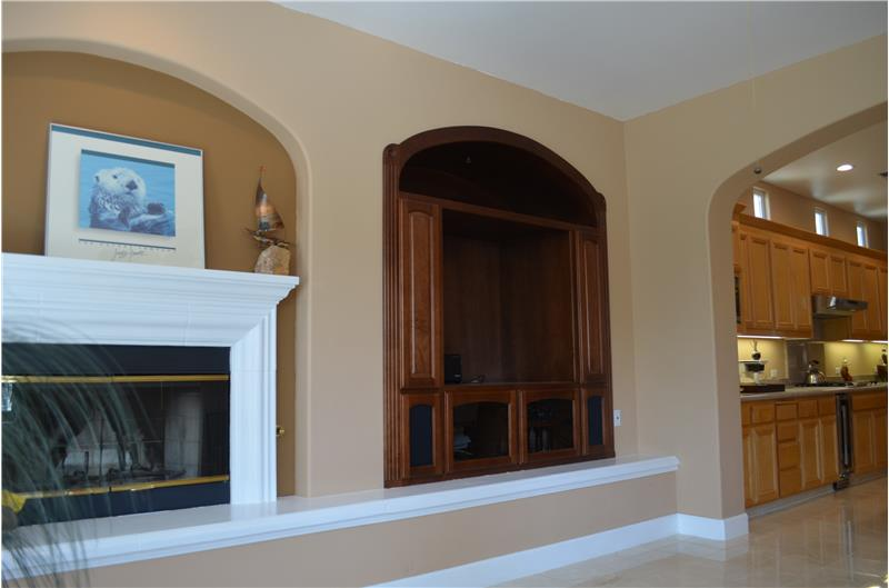 Fireplace and Media Niche with built-ins