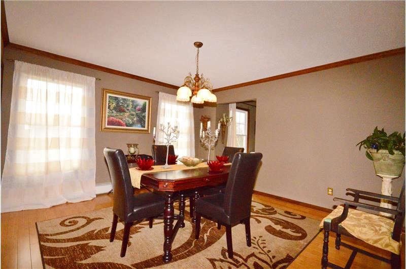Ample lighting in dining room