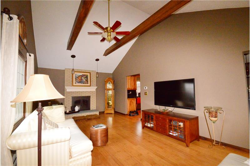 Large family room with wood burning fireplace