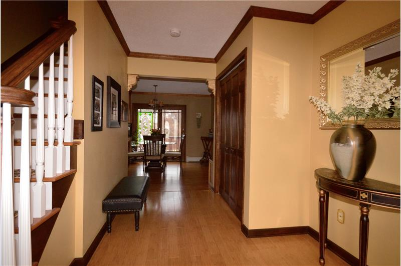 Welcoming foyer with bamboo flooring