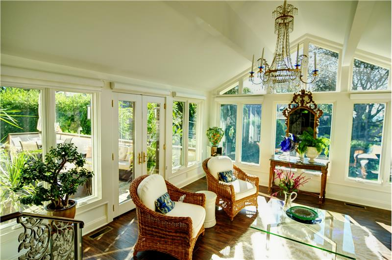 Sunroom with French Doors to Deck