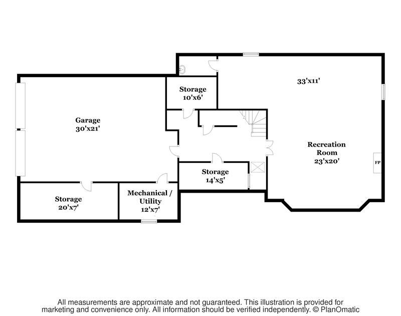 Basement Floor Plan - Large Rec Room w. Fpl