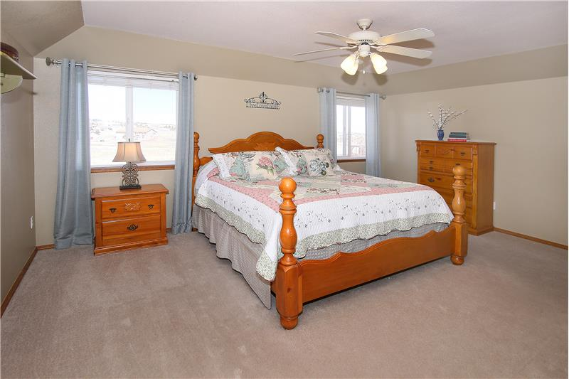 Master bedroom easily fits a King size bed