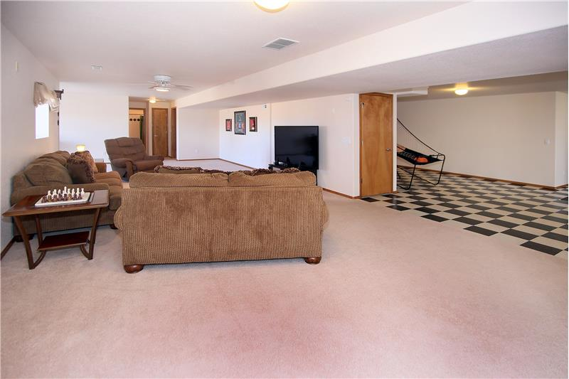 Family room in basement hardwired for surround sound