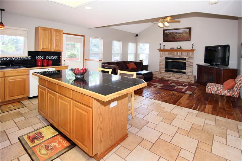 Kitchen opens up into the family room
