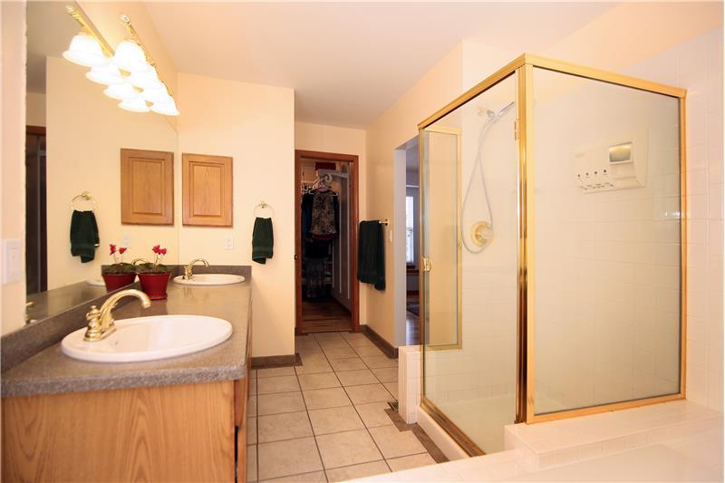 5-piece master bathroom with a soaking tub