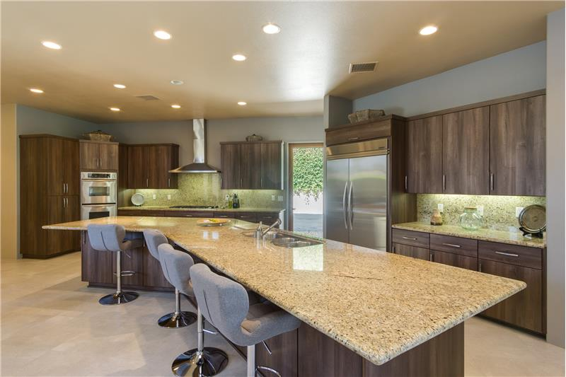 Custom Kitchen With Slab Granite