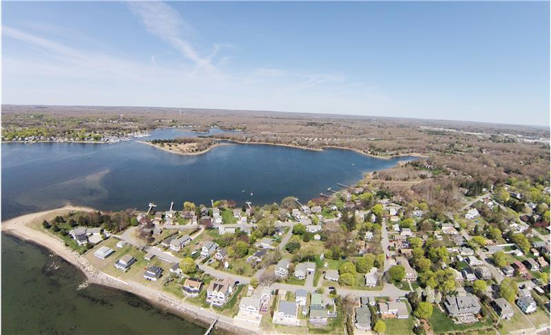Aerial view of the Fishing Cove harbor to boat on