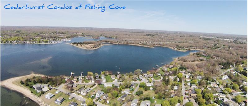 Aerial water views of Fishing Cove & Wickford Harbor