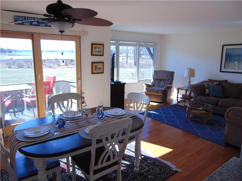 Dining Room with hardwoods with fabulous views!