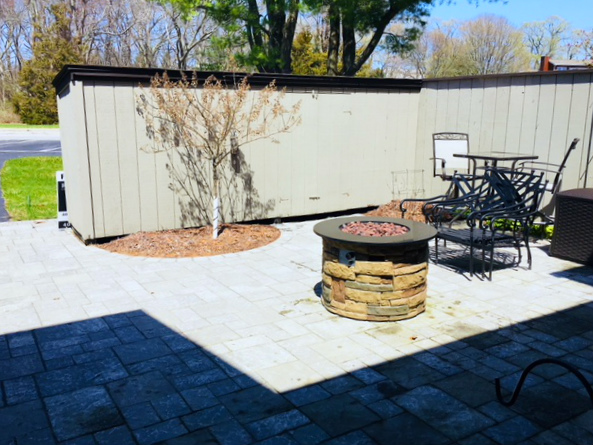 New stone paver private courtyard steps from the pool & tennis courts.