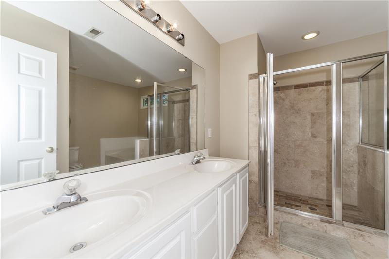 Dual sink vanity upstairs bedroom