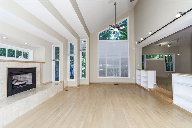 Modern tri-step design family room