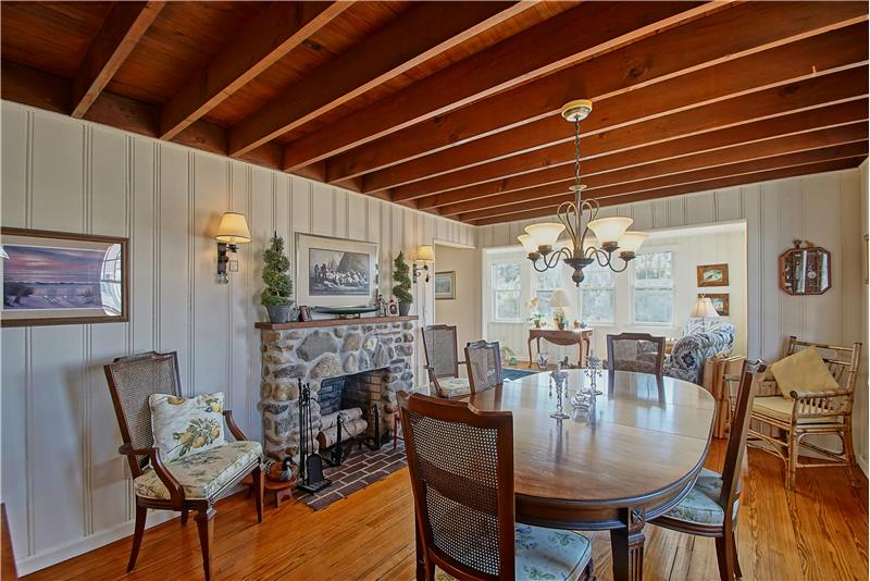 Dining Area with Stone Fireplace