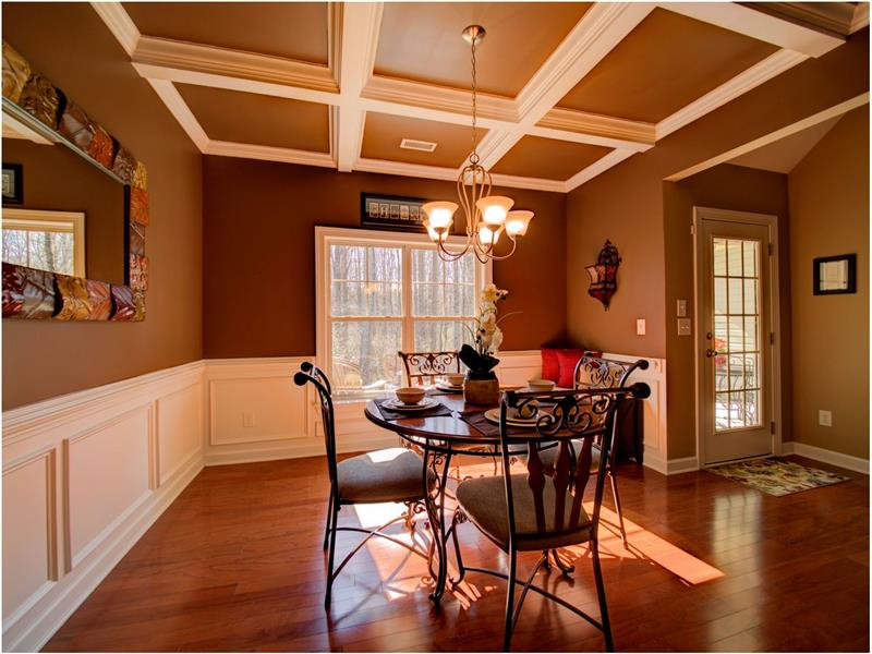 Beautiful Dining Room with Coffered Ceilings