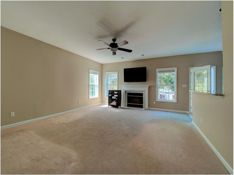 Spacious Family Room has many options for furniture