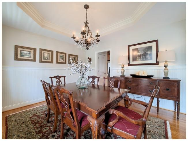 Dining Room with trey ceiling