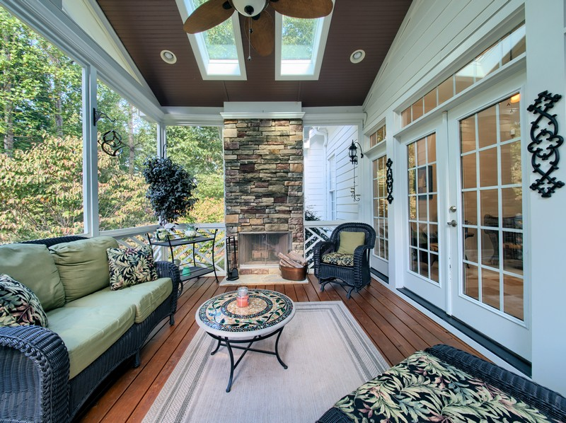 Screen Porch with fireplace - Apex Homes for Sale