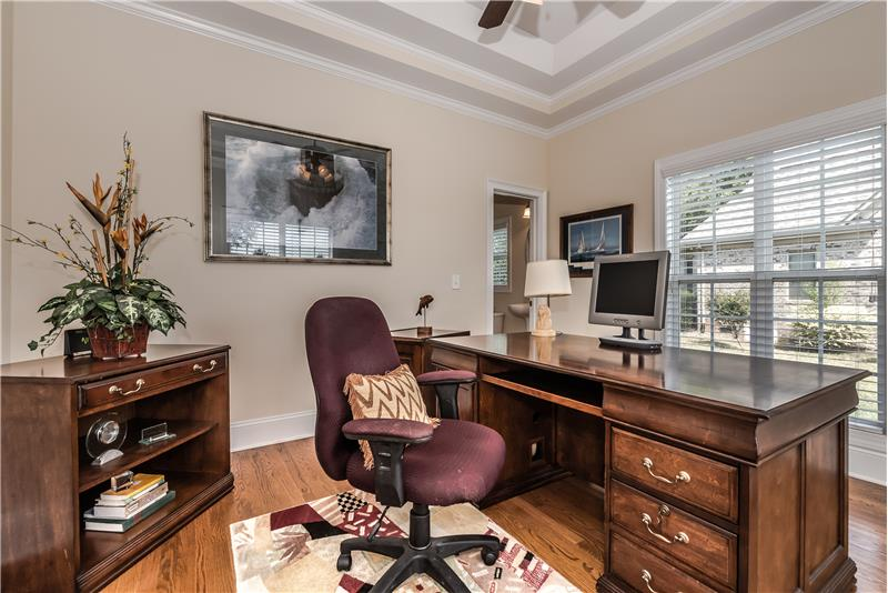 Home office offers plenty of space for larger furniture and electronics.
