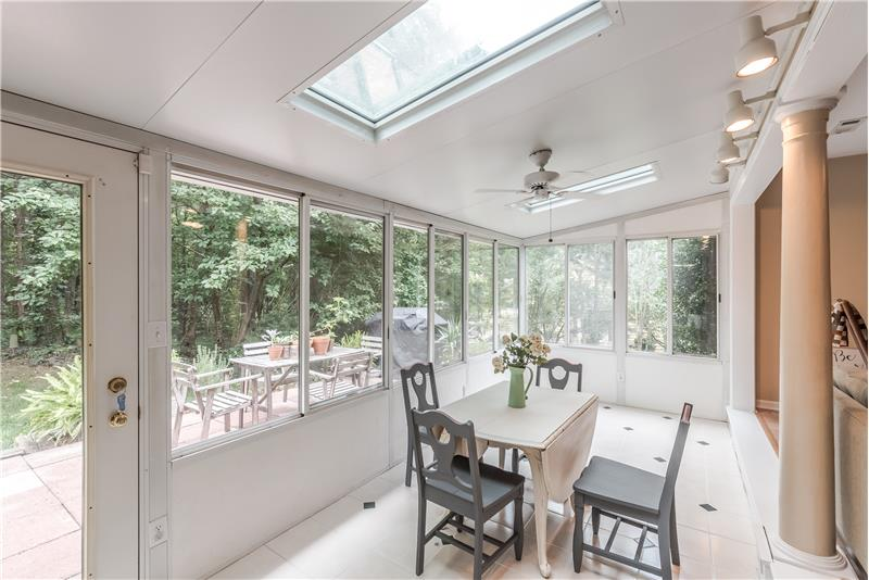 Sun room with skylights.