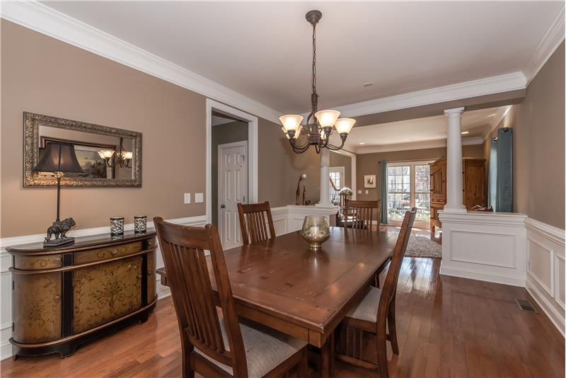 Elegant dining room ideal for holiday meals and more formal entertaining.
