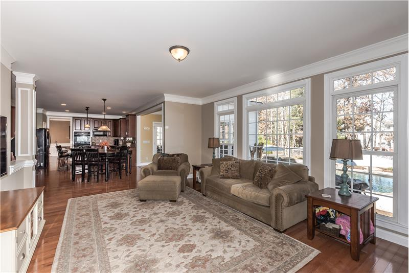 Open sight lines from family room to kitchen/breakfast area. Great flow for daily living and entertaining.
