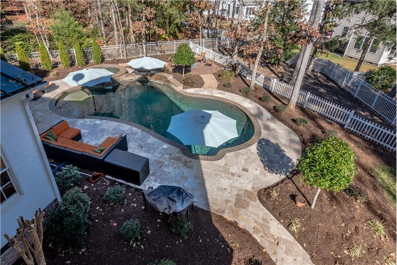 View of the custom-built pool from second floor of home.