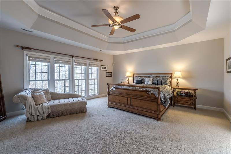 Serene and spacious master suite is a true oasis. Easily accommodates a king-size bed, larger dressers.
