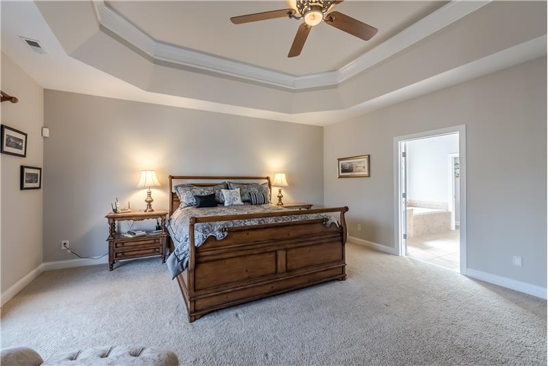 Custom trey ceiling, en-suite spa-inspired bathroom with double door entry.