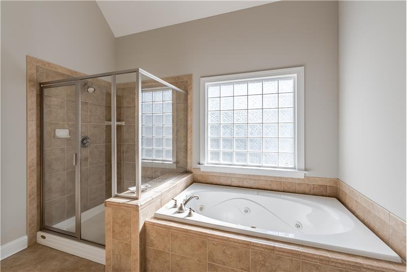 Deep, whirlpool soaking tub, large separate shower with tile surround.