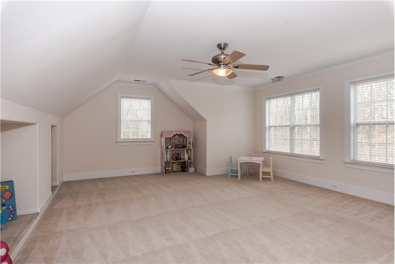 Huge recreation room on second floor of home perfect flex space. Use as a play room, media room, exercise room, office.