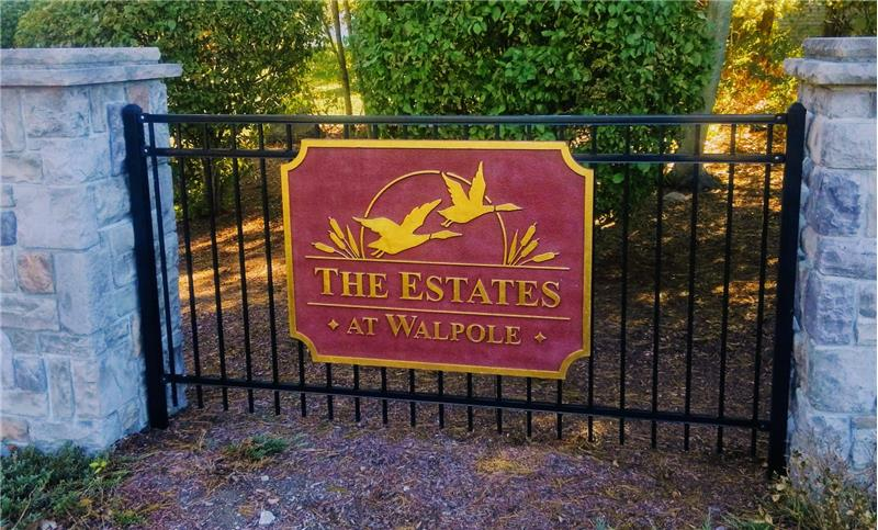 Sign at the front of the subdivision for The Estates at Walpole
